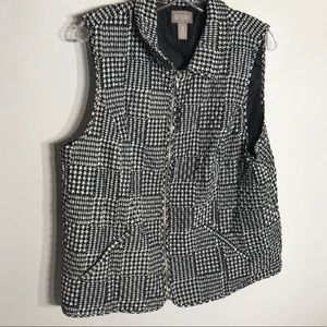 Chico's quilted Houndstooth patch printed vest